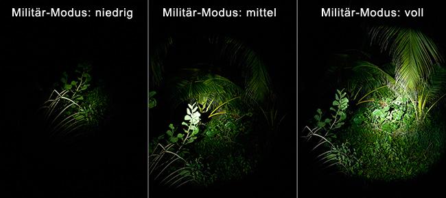 """Vergleich der drei Leucht-Modi in der """"Military Einstellung"""""""