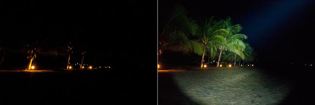 Vergleichsbild : Ohne Taschenlampen-Licht und mit voller Leistung