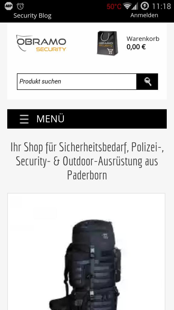 Screenshot des Onlineshops auf einem Smartphone