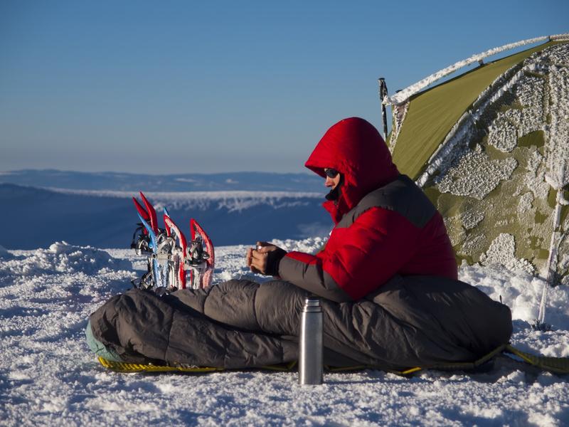 Schlafsack im Winter